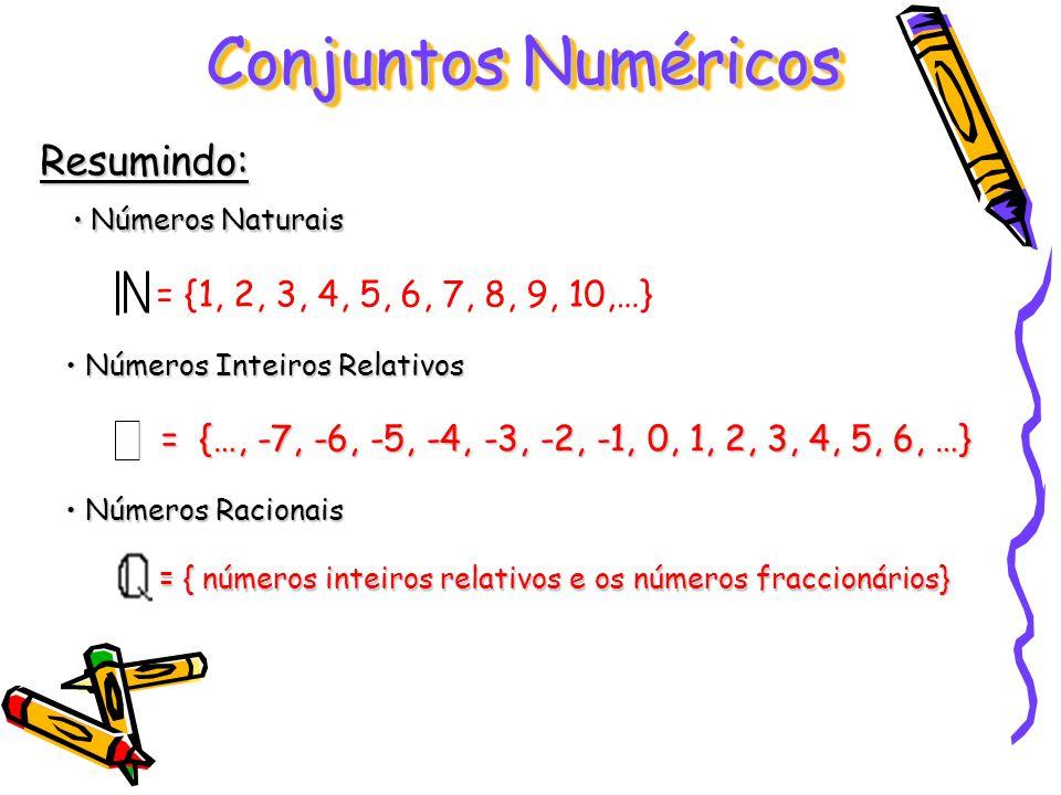 Conjuntos Numéricos Resumindo: = {1, 2, 3, 4, 5, 6, 7, 8, 9, 10,…}