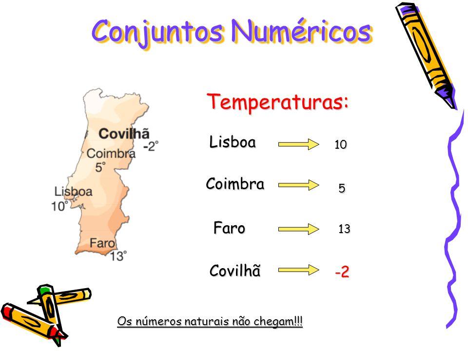 Conjuntos Numéricos Temperaturas: Lisboa Coimbra Faro Covilhã -2 10 5