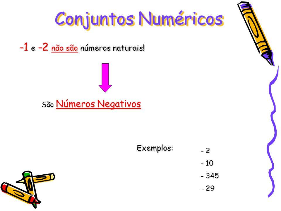 Conjuntos Numéricos -1 e -2 não são números naturais! Exemplos: