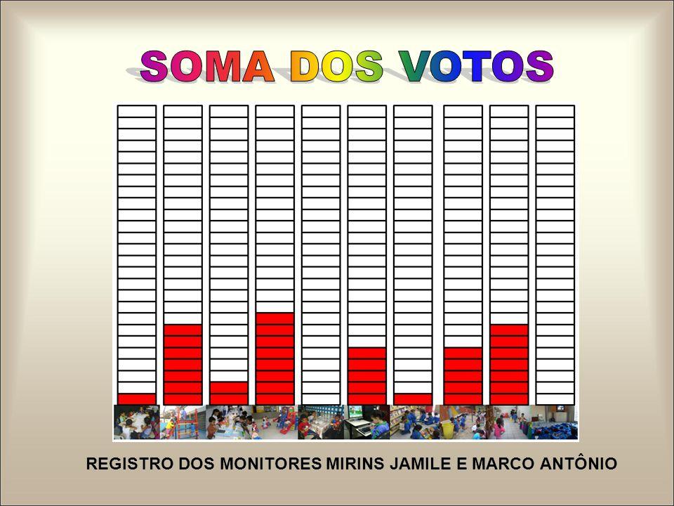 SOMA DOS VOTOS REGISTRO DOS MONITORES MIRINS JAMILE E MARCO ANTÔNIO