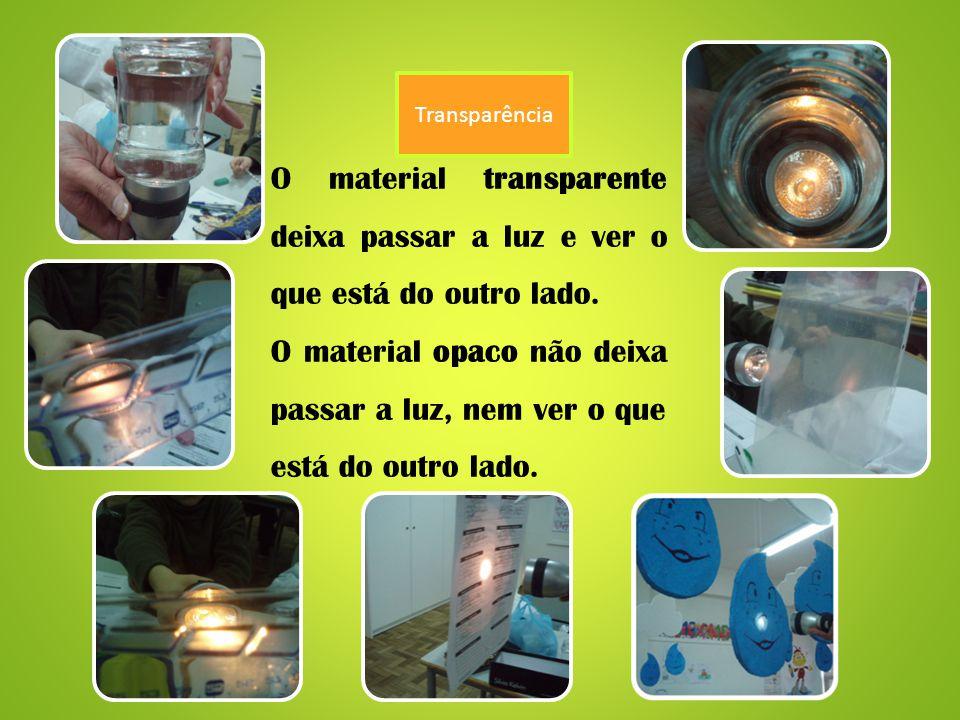 Transparência O material transparente deixa passar a luz e ver o que está do outro lado.