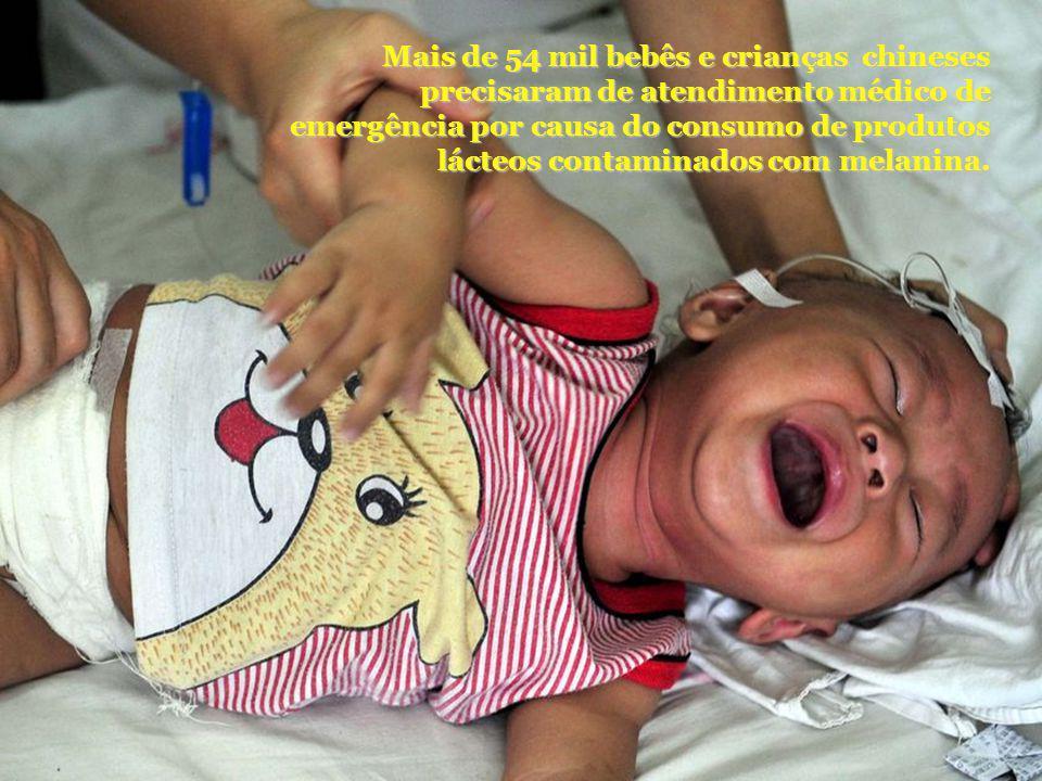 Mais de 54 mil bebês e crianças chineses precisaram de atendimento médico de emergência por causa do consumo de produtos lácteos contaminados com melanina.