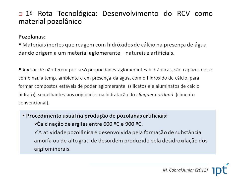1ª Rota Tecnológica: Desenvolvimento do RCV como material pozolânico