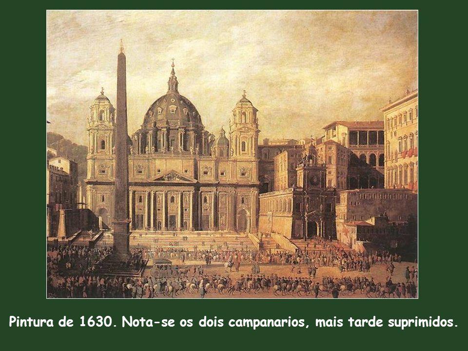 Pintura de 1630. Nota-se os dois campanarios, mais tarde suprimidos.