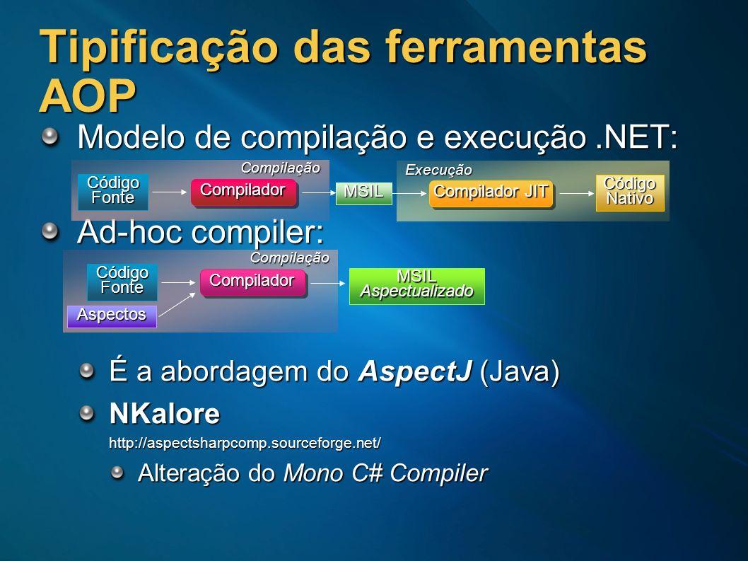 Tipificação das ferramentas AOP