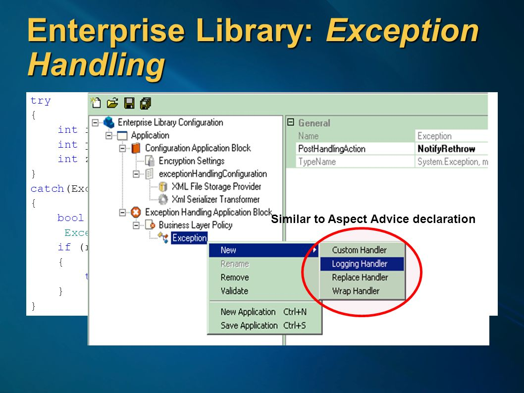 Enterprise Library: Exception Handling