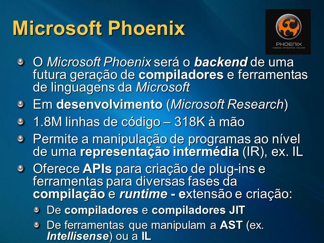 Microsoft Phoenix O Microsoft Phoenix será o backend de uma futura geração de compiladores e ferramentas de linguagens da Microsoft.