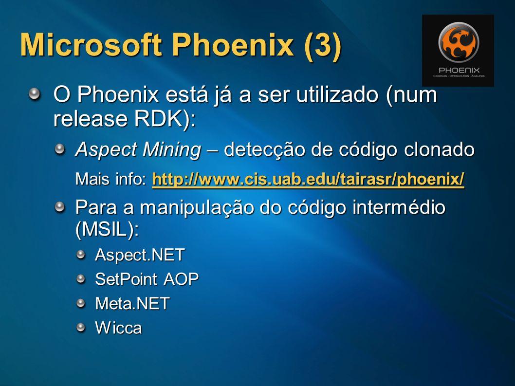 Microsoft Phoenix (3) O Phoenix está já a ser utilizado (num release RDK): Aspect Mining – detecção de código clonado.