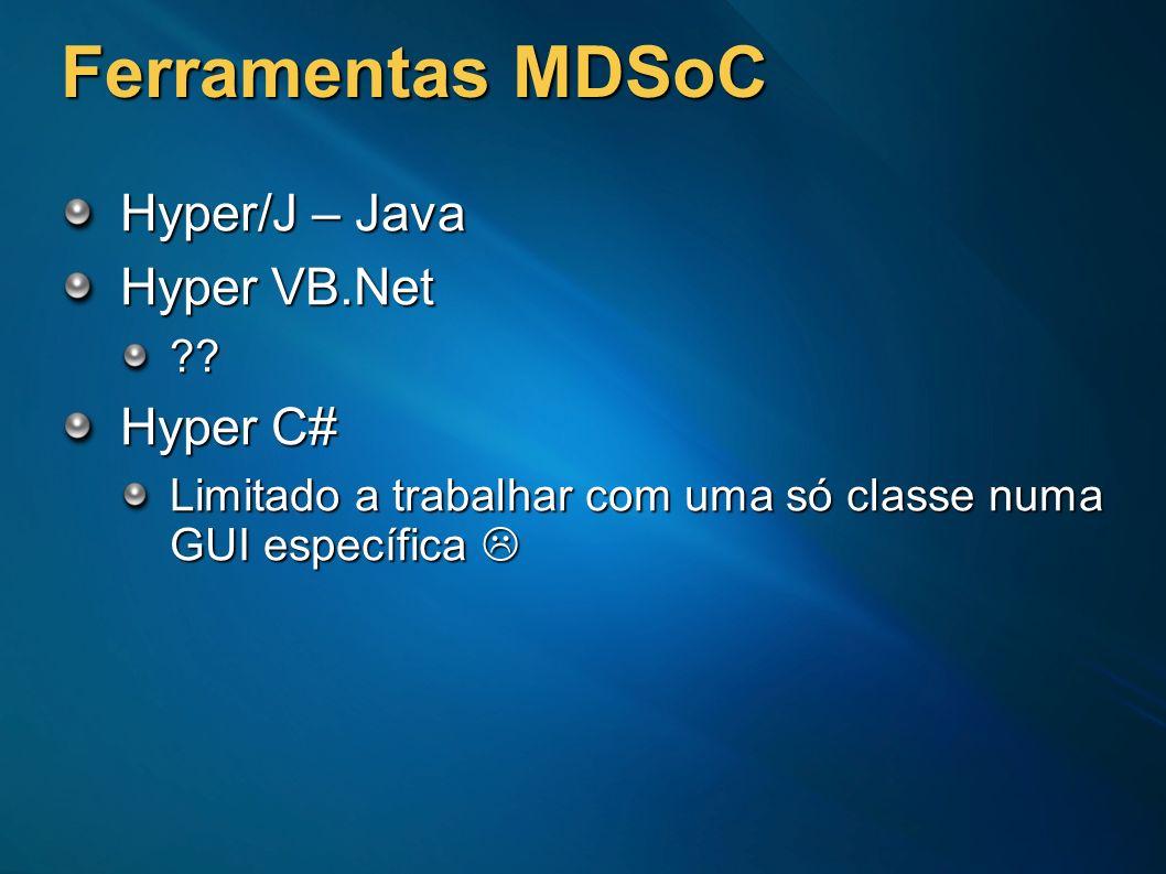 Ferramentas MDSoC Hyper/J – Java Hyper VB.Net Hyper C#