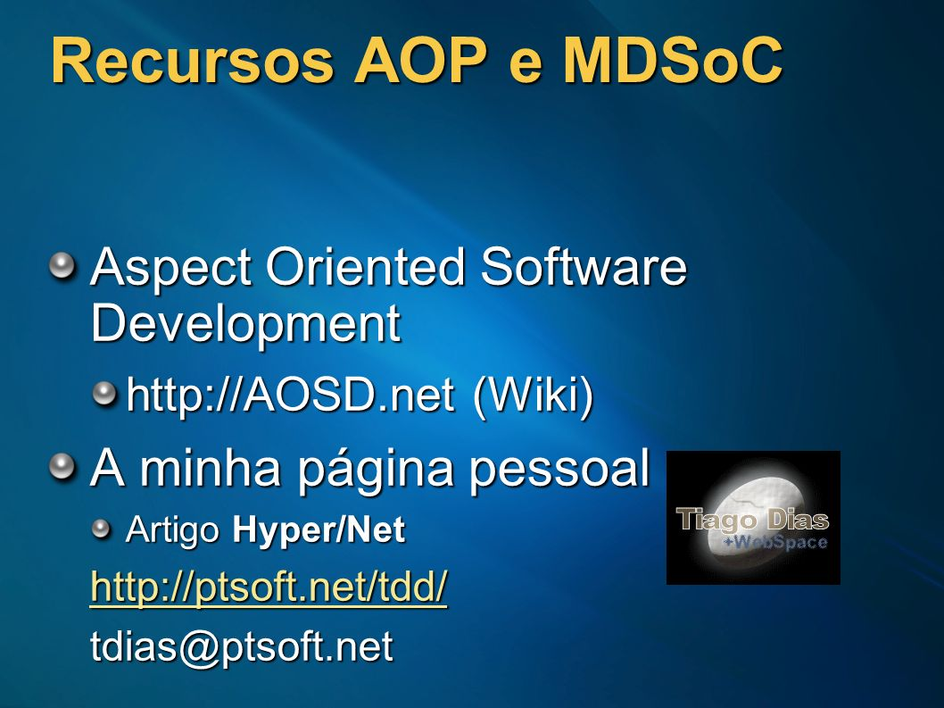 Recursos AOP e MDSoC Aspect Oriented Software Development