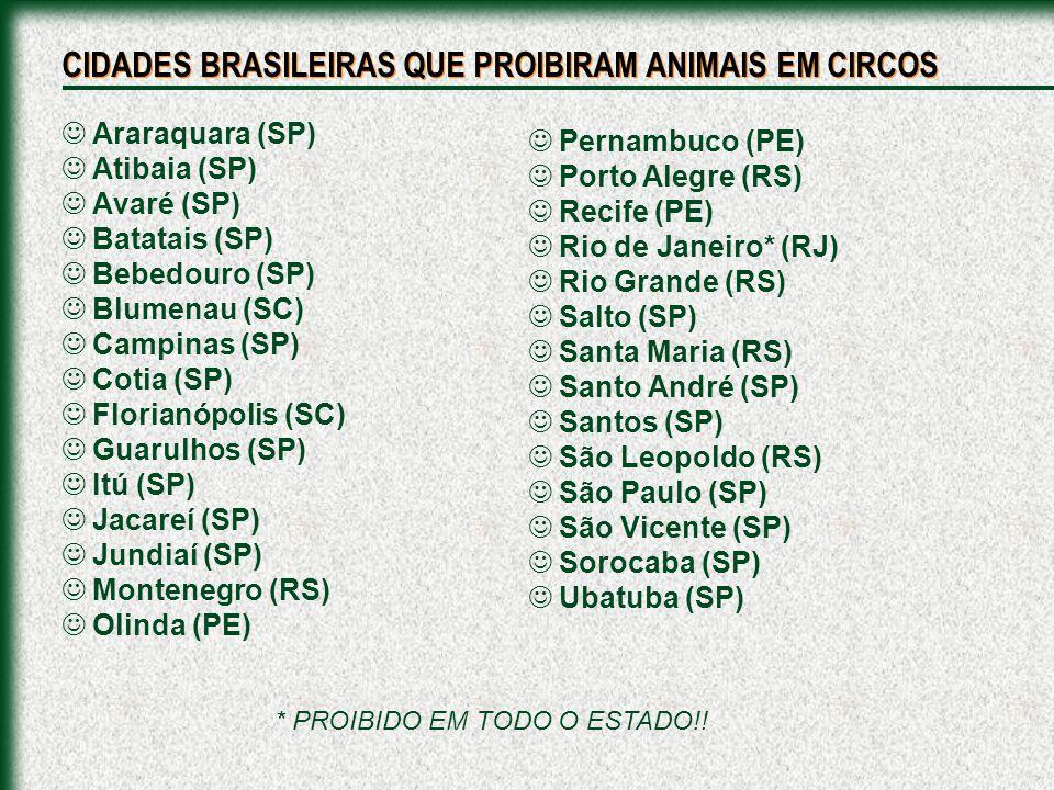 CIDADES BRASILEIRAS QUE PROIBIRAM ANIMAIS EM CIRCOS