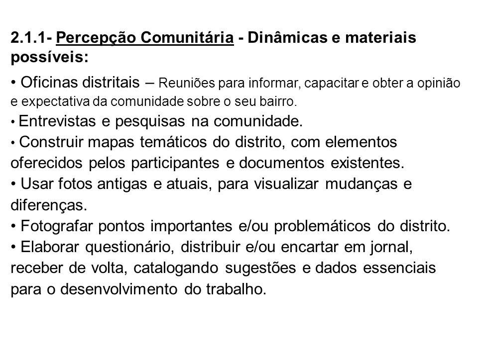 2.1.1- Percepção Comunitária - Dinâmicas e materiais possíveis: