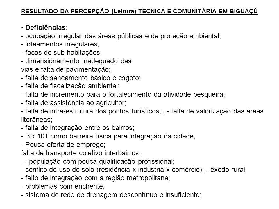 - ocupação irregular das áreas públicas e de proteção ambiental;