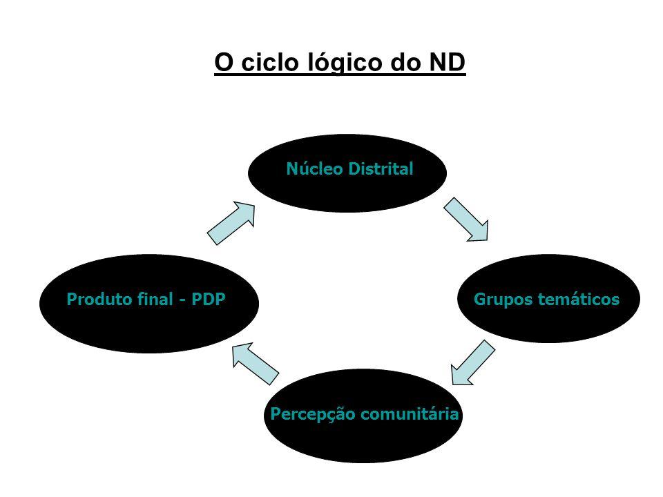 O ciclo lógico do ND Núcleo Distrital Grupos temáticos