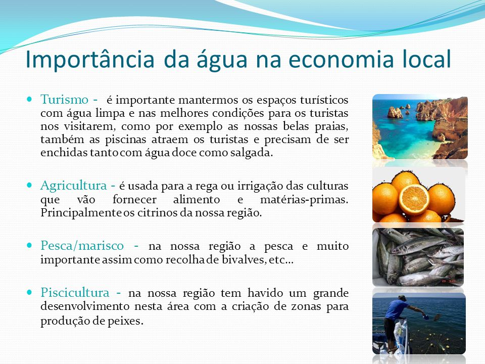 Importância da água na economia local