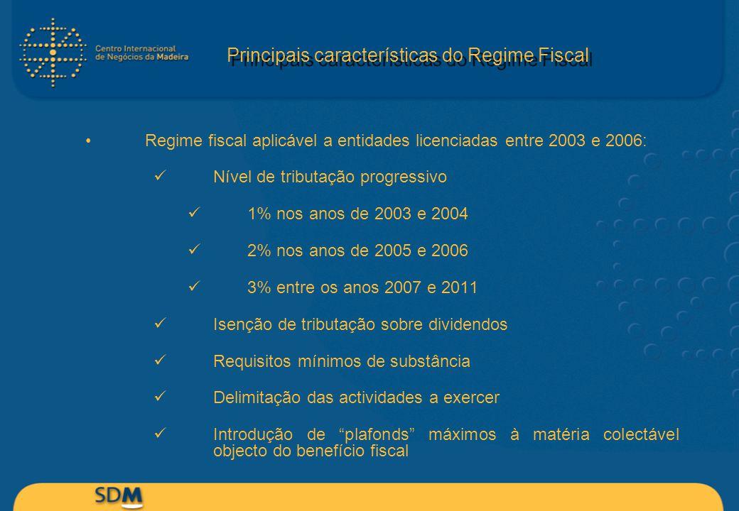 Principais características do Regime Fiscal