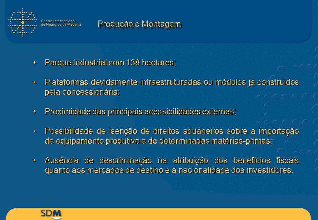 Produção e Montagem Parque Industrial com 138 hectares; Plataformas devidamente infraestruturadas ou módulos já construidos pela concessionária;