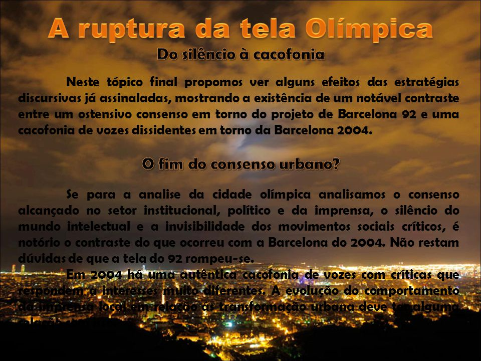 A ruptura da tela Olímpica