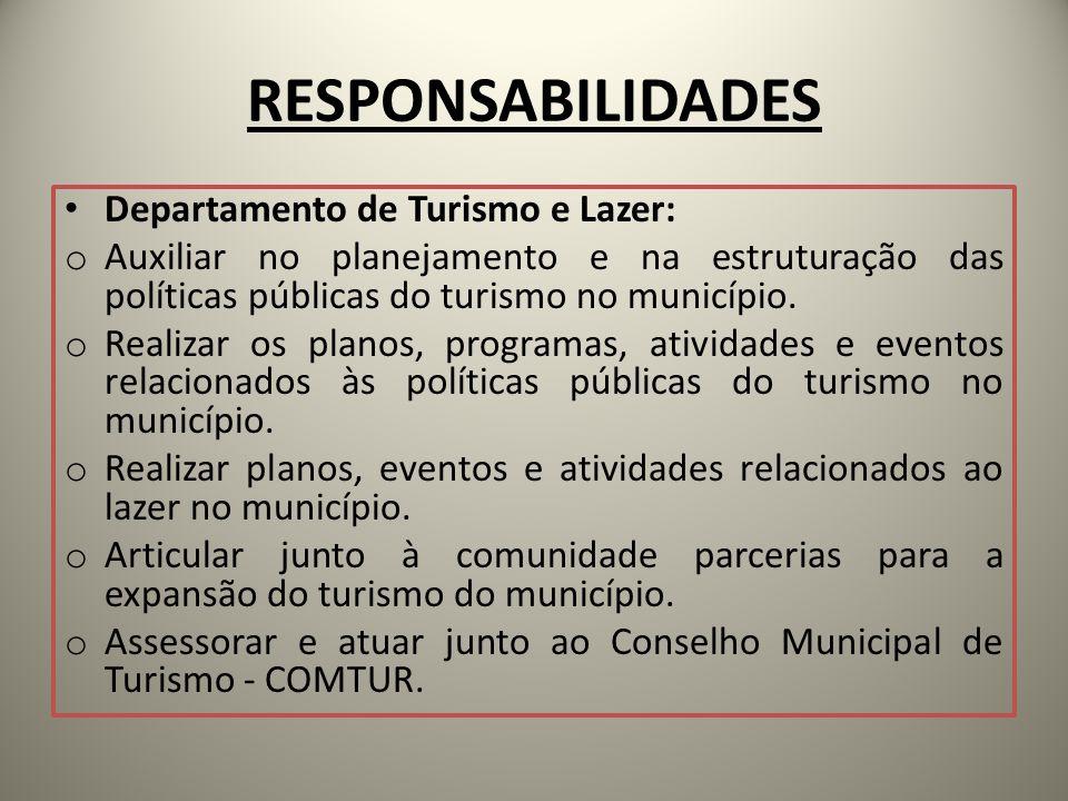 RESPONSABILIDADES Departamento de Turismo e Lazer:
