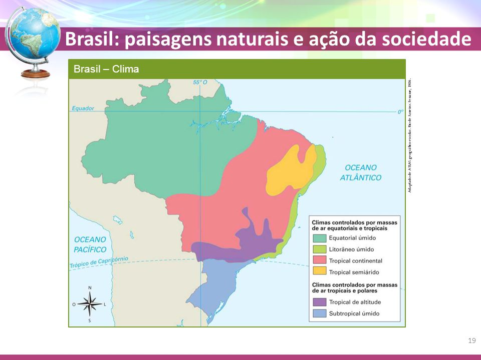 Brasil – Clima Adaptado de ATLAS geográfico escolar. Rio de Janeiro: Fename, 1986.