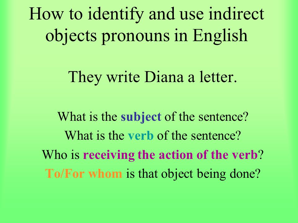How to identify and use indirect objects pronouns in English