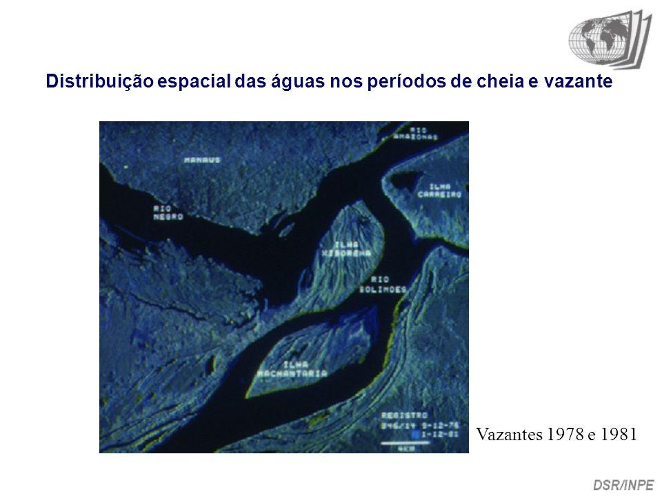 Distribuição espacial das águas nos períodos de cheia e vazante