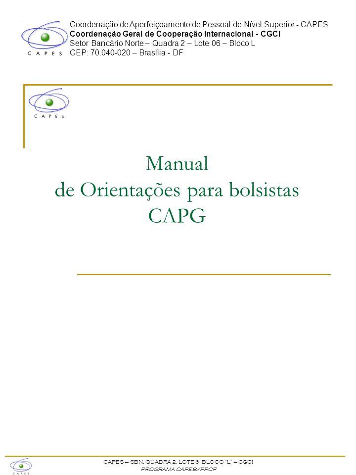 Manual de Orientações para bolsistas CAPG