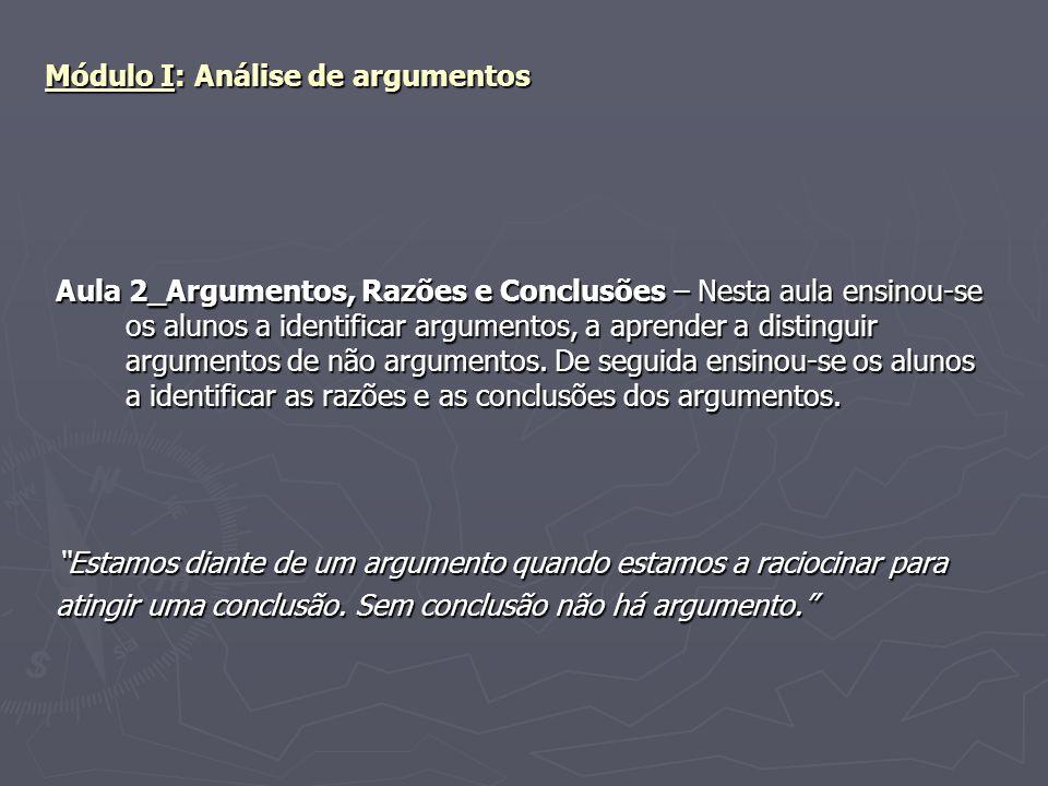 Módulo I: Análise de argumentos