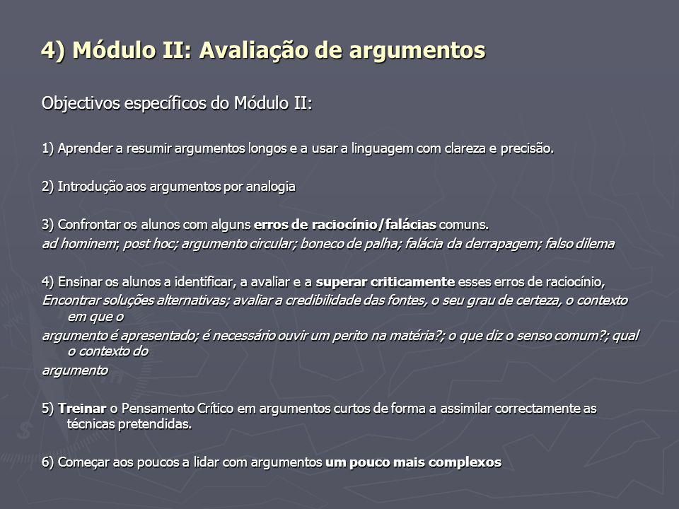 4) Módulo II: Avaliação de argumentos