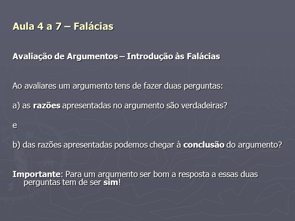 Aula 4 a 7 – Falácias Avaliação de Argumentos – Introdução às Falácias