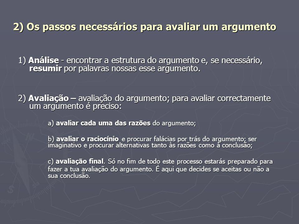 2) Os passos necessários para avaliar um argumento