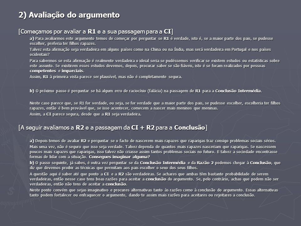 2) Avaliação do argumento