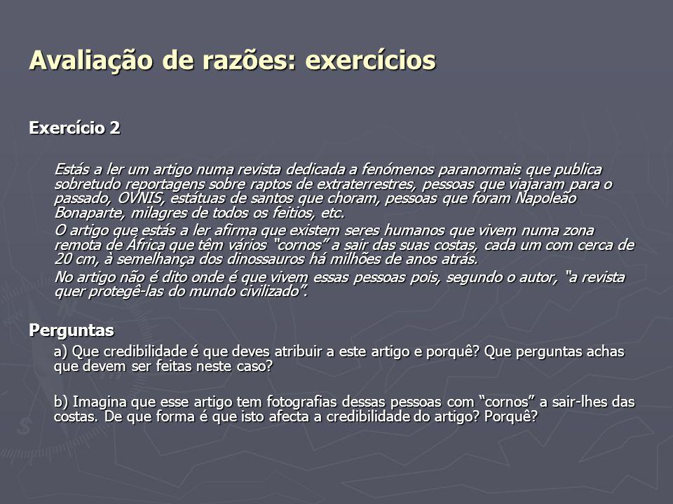 Avaliação de razões: exercícios
