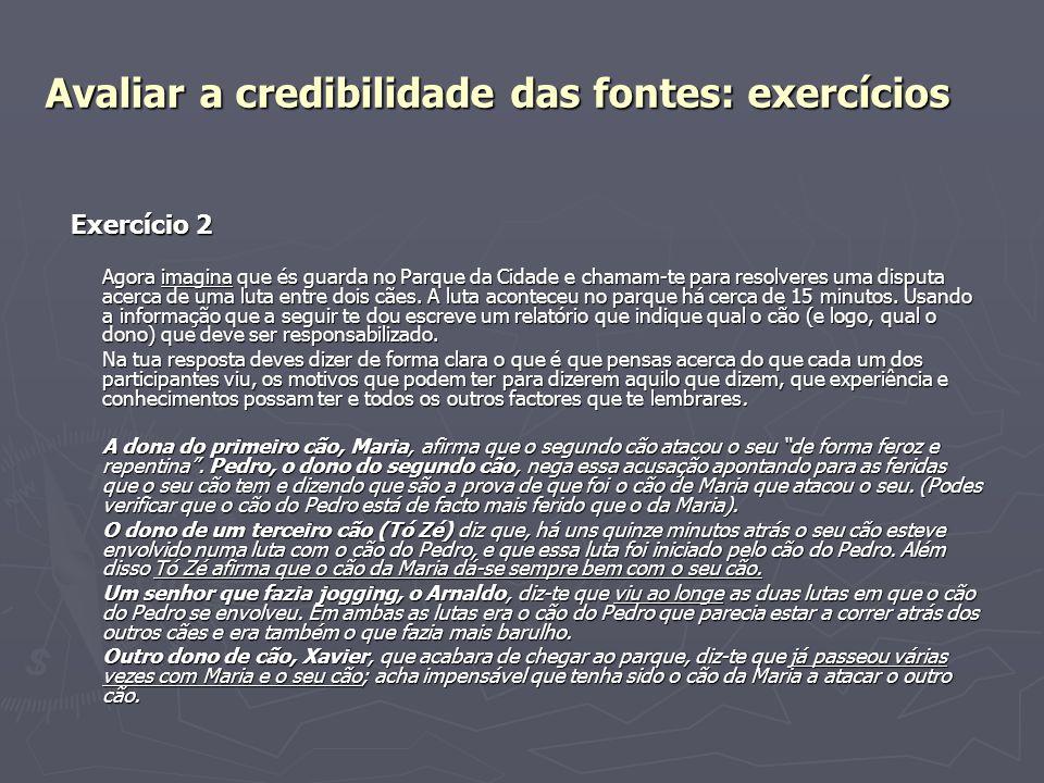 Avaliar a credibilidade das fontes: exercícios
