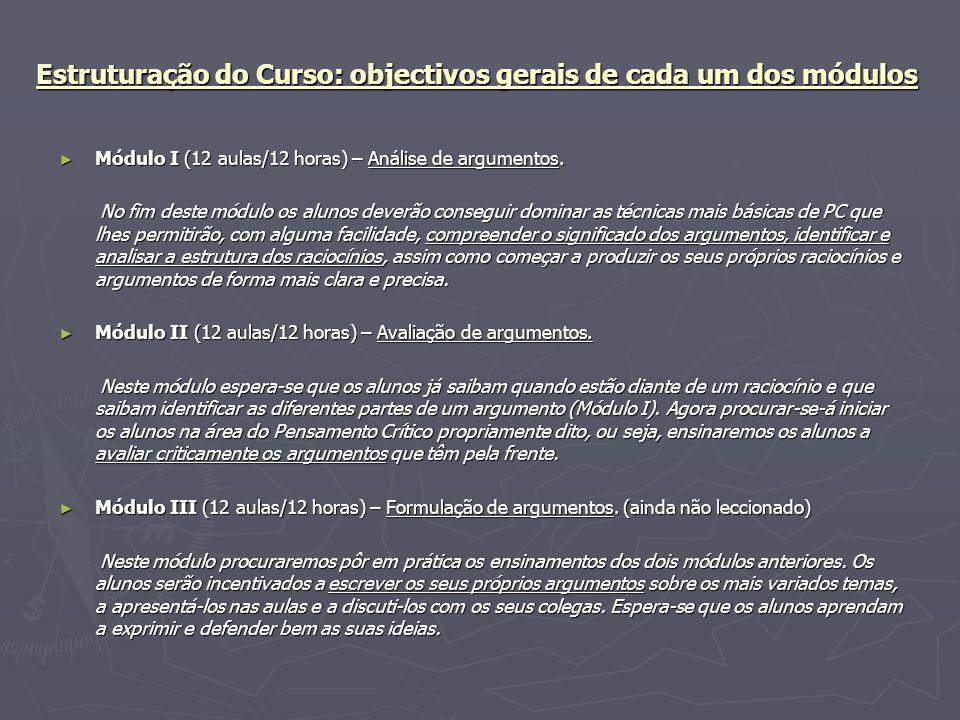 Estruturação do Curso: objectivos gerais de cada um dos módulos