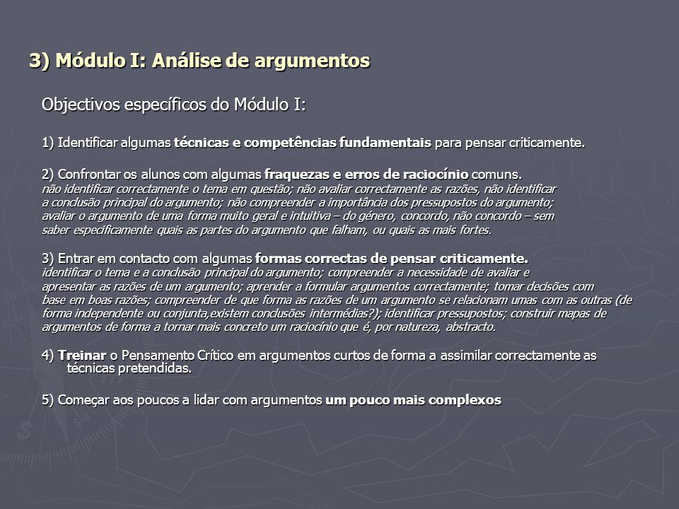 3) Módulo I: Análise de argumentos