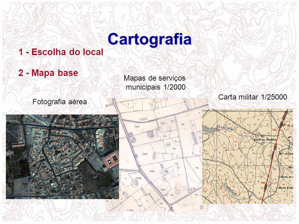 Cartografia 1 - Escolha do local 2 - Mapa base Mapas de serviços