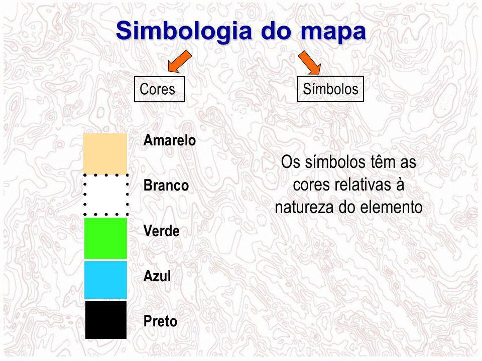 Os símbolos têm as cores relativas à natureza do elemento