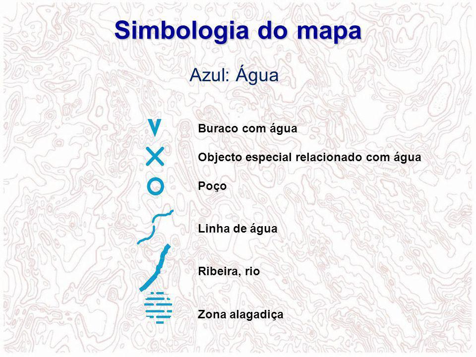 Simbologia do mapa Azul: Água Buraco com água