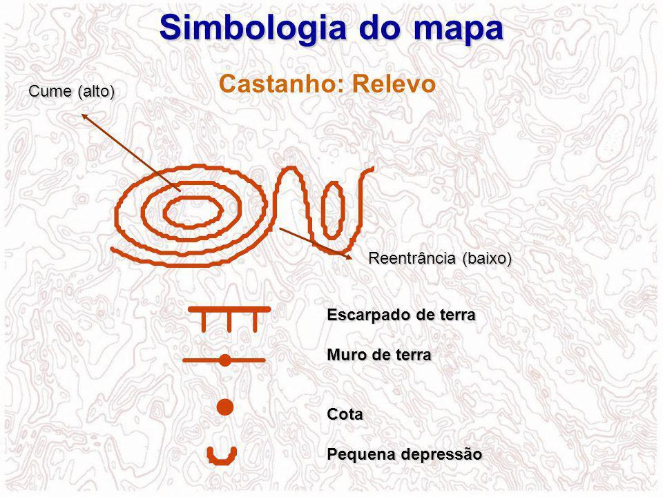 Simbologia do mapa Castanho: Relevo Cume (alto) Reentrância (baixo)
