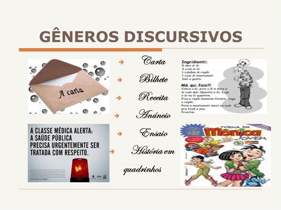 GÊNEROS DISCURSIVOS Carta Bilhete Receita Anúncio Ensaio História em