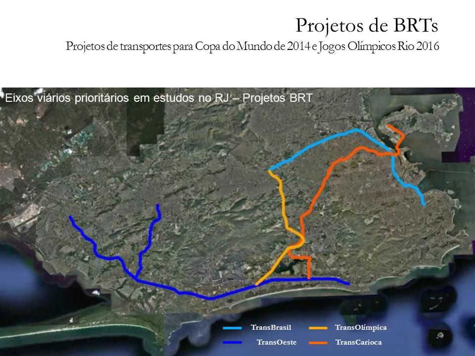 Eixos viários prioritários em estudos no RJ – Projetos BRT