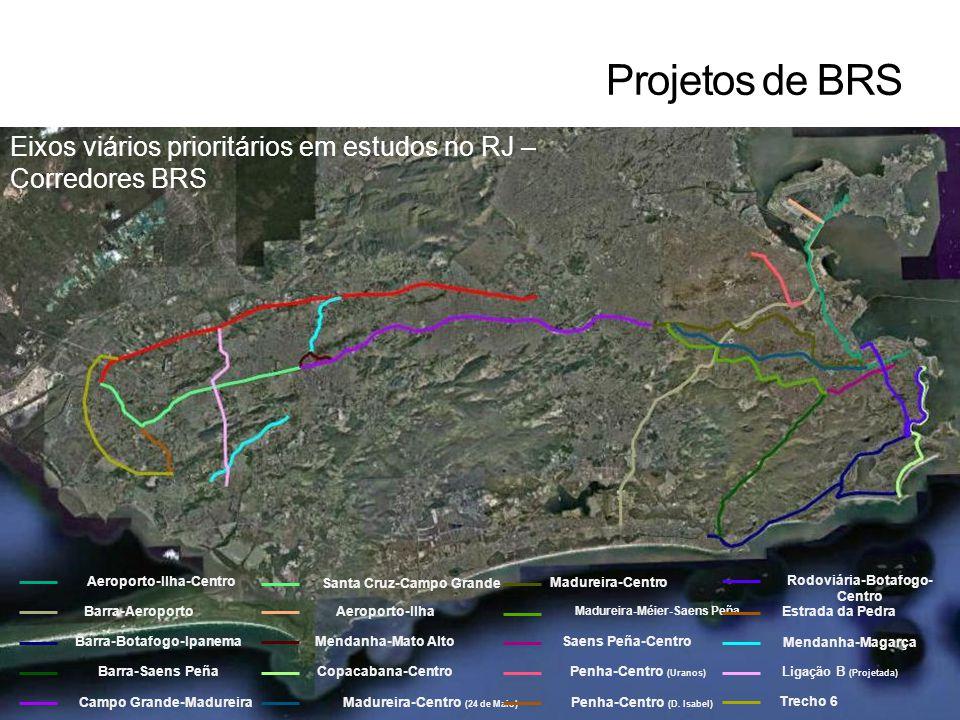Eixos viários prioritários em estudos no RJ – Corredores BRS