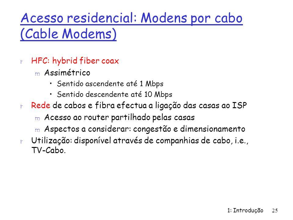 Acesso residencial: Modens por cabo (Cable Modems)