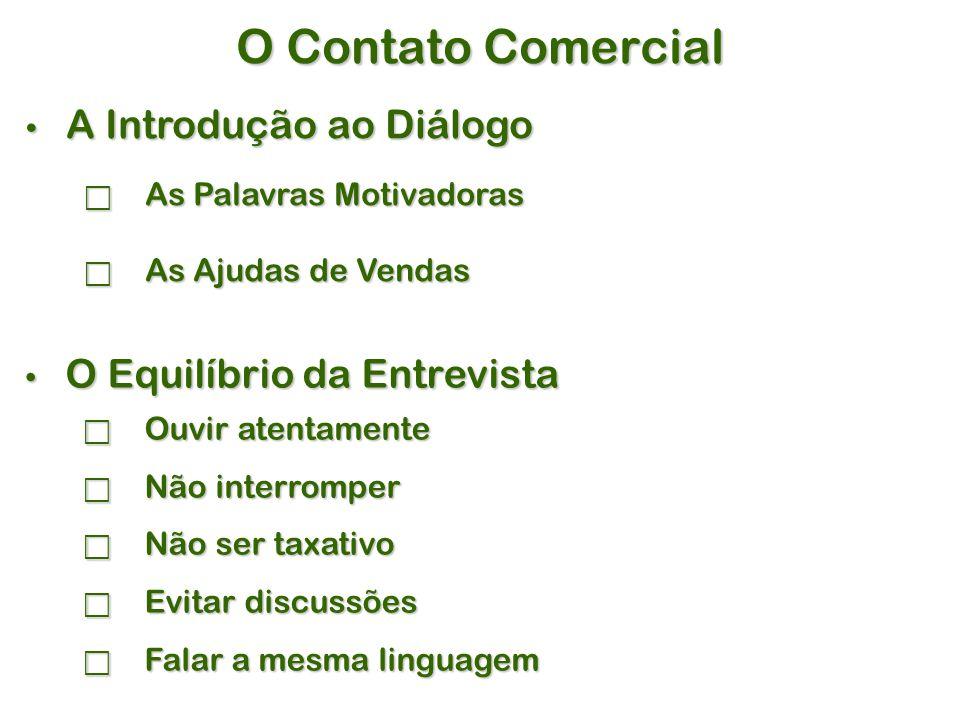 O Contato Comercial A Introdução ao Diálogo O Equilíbrio da Entrevista