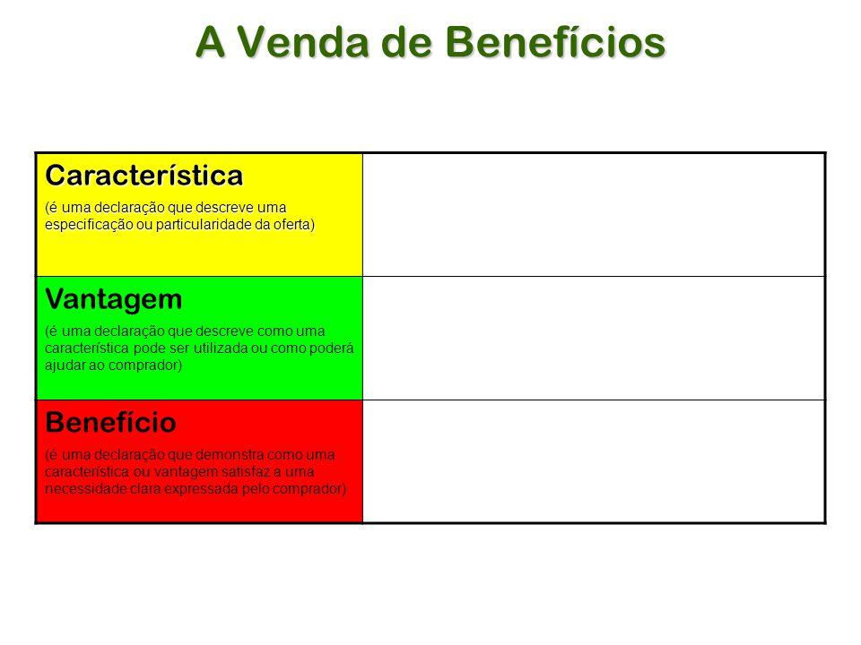 A Venda de Benefícios Característica Vantagem Benefício