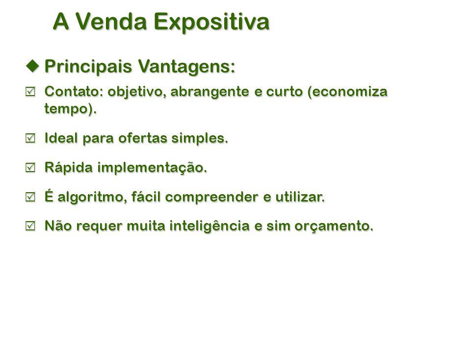 A Venda Expositiva Principais Vantagens: