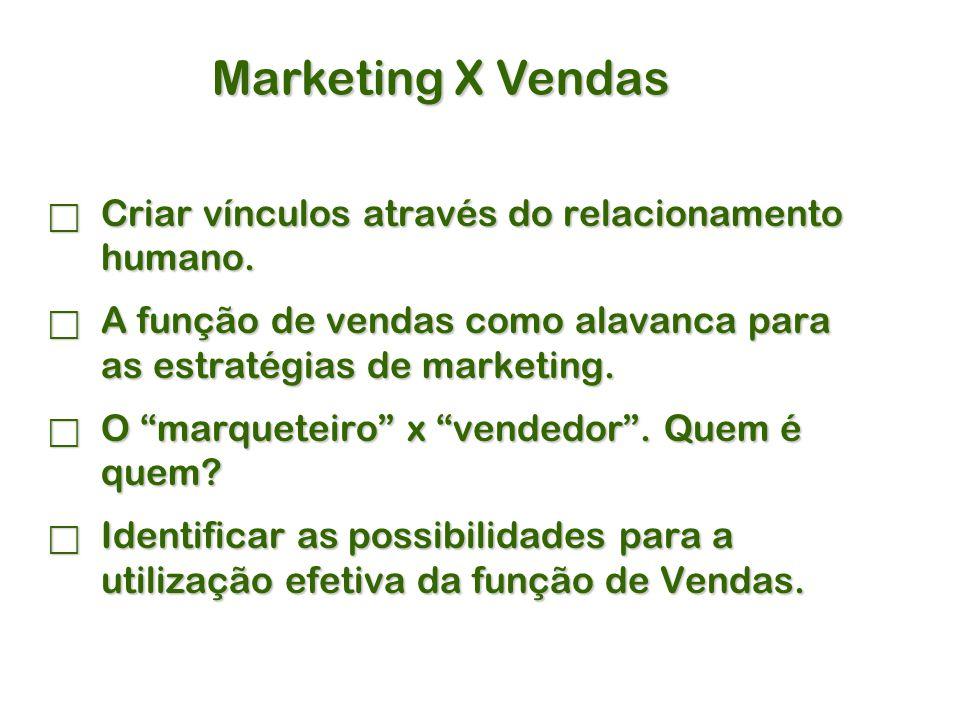 Marketing X Vendas Criar vínculos através do relacionamento humano.