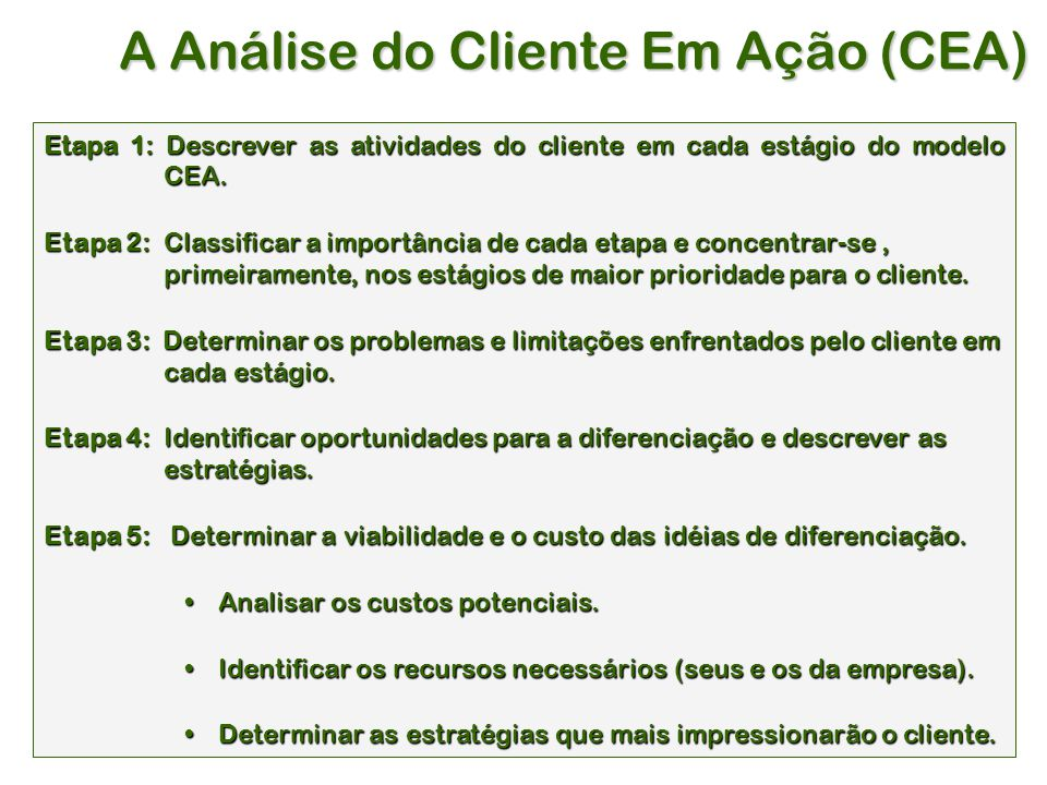 A Análise do Cliente Em Ação (CEA)