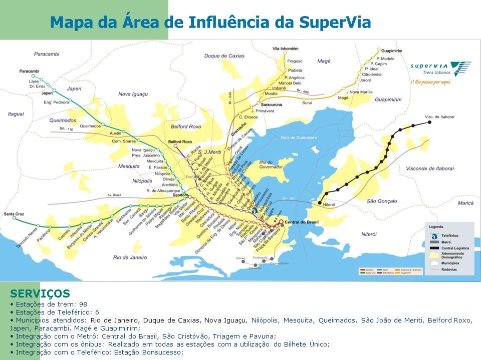 Mapa da Área de Influência da SuperVia